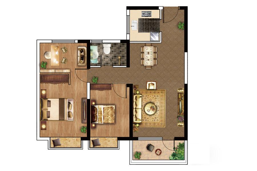 A户型, 3室2厅1卫1厨, 建筑面积约100.00平米