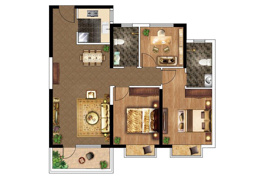 B户型, 3室2厅2卫1厨, 建筑面积约125.00平米