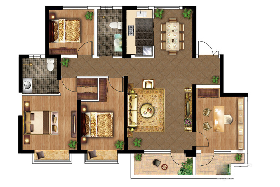 D户型, 4室2厅2卫1厨, 建筑面积约140.00平米