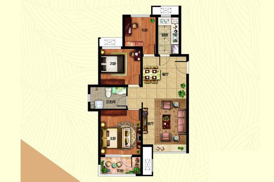 B1B4地块1、3、5、B2地块1、2、4#楼B-1户型