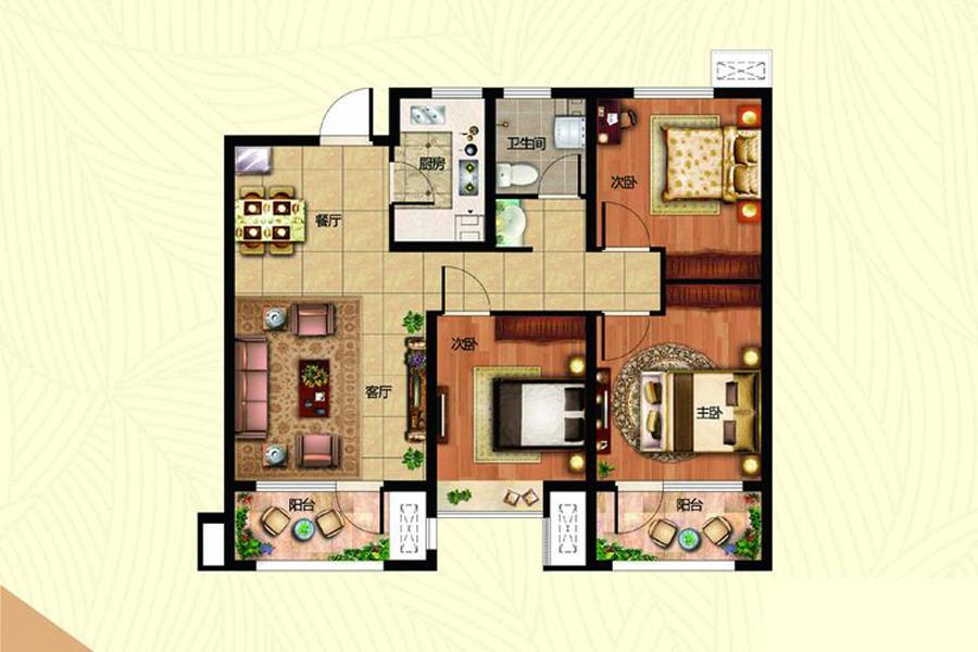B1地块2#2地块4.5#4地块2.4.6#楼B-3户型