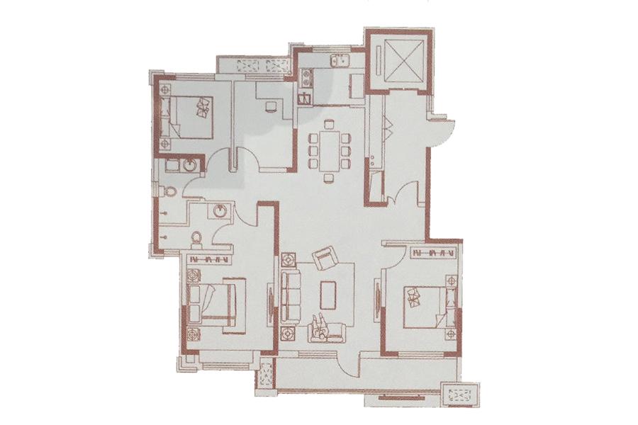 140㎡户型 4室2厅2卫1厨