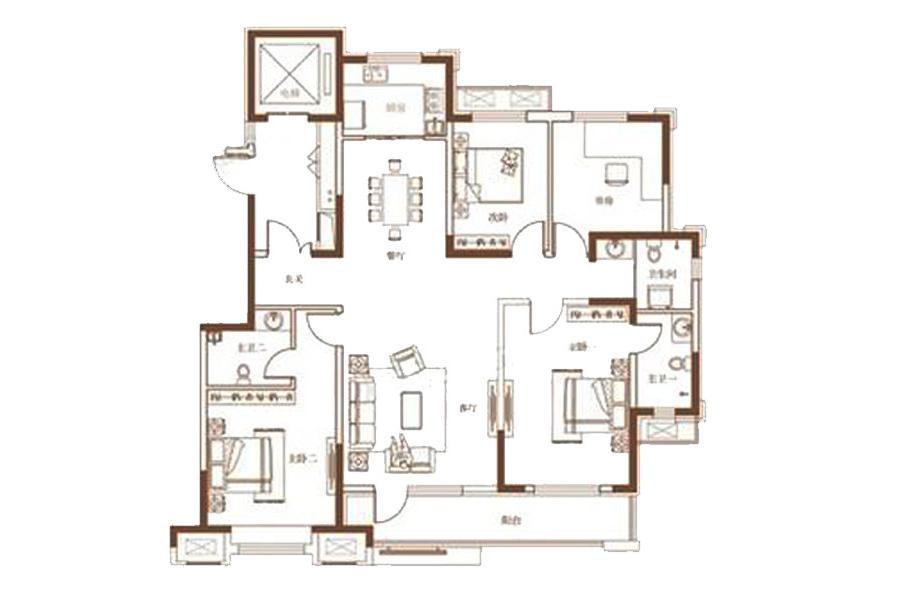 159㎡户型4室2厅3卫1厨