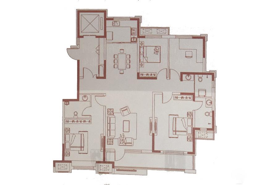 170㎡户型 4室2厅3卫1厨