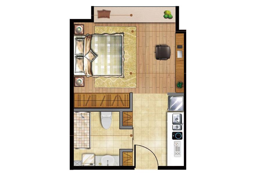 D户型商住建筑面积约30.00平米
