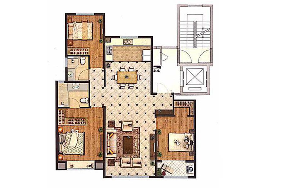 140㎡户型3室2厅2卫1厨
