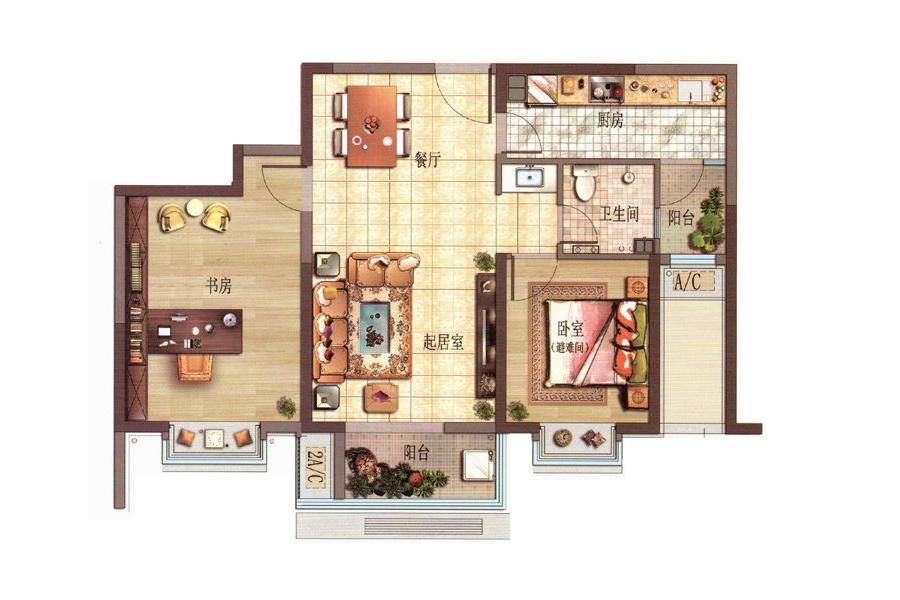 D户型2室2厅1卫1厨100.25平米
