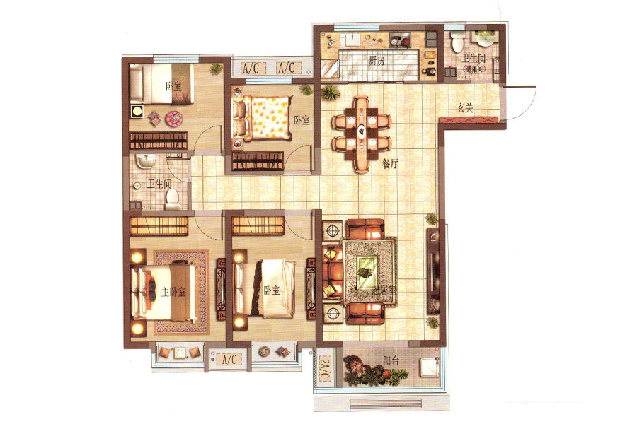 I户型4室2厅2卫1厨143.01平米