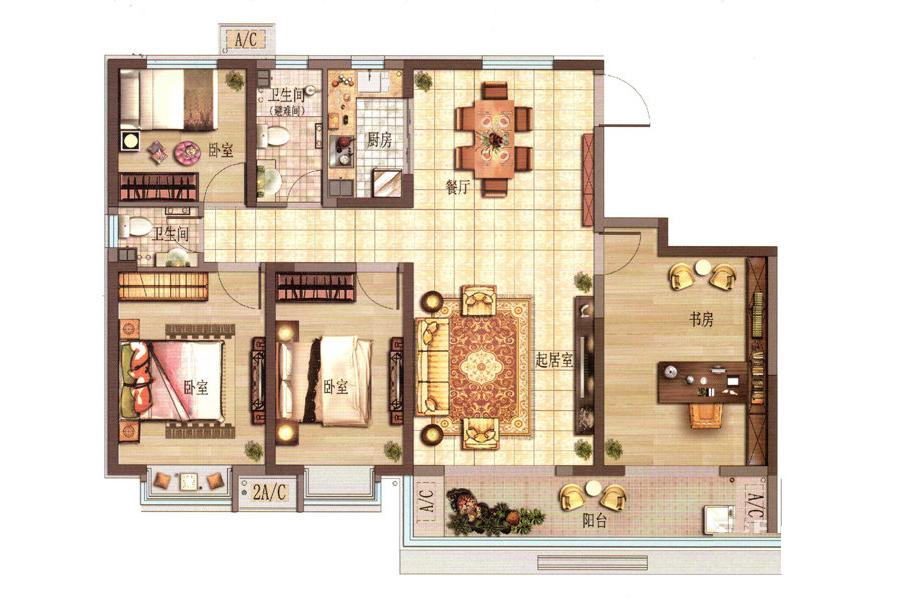 J户型4室2厅2卫1厨151.74平米