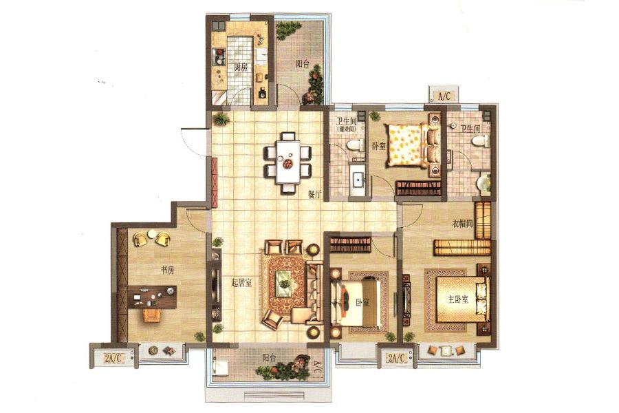 K户型 4室2厅2卫1厨183.51平米