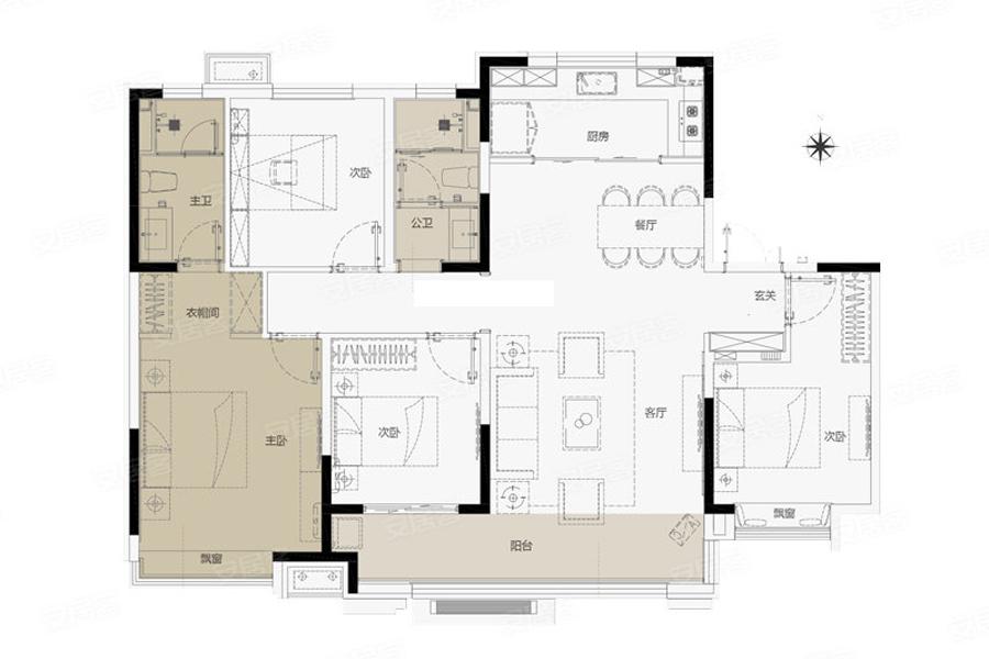 144㎡户型, 4室2厅2卫1厨