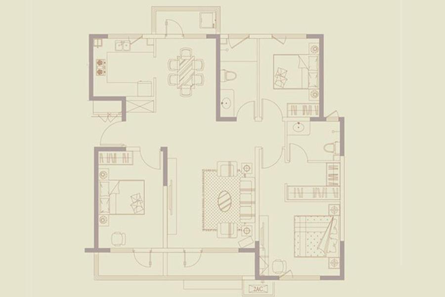 一期9号楼C户型128平米3212