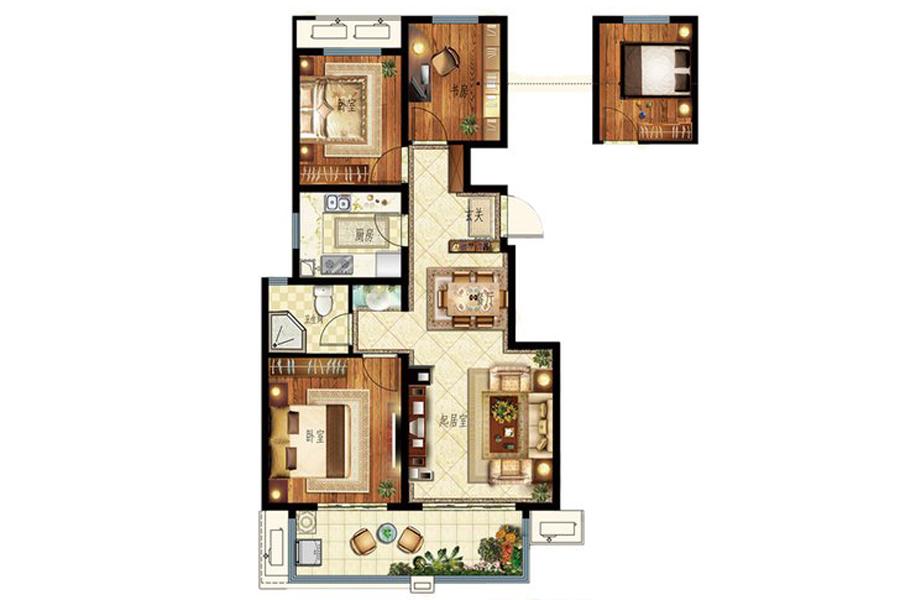 D户型106平米3室2厅1卫1厨