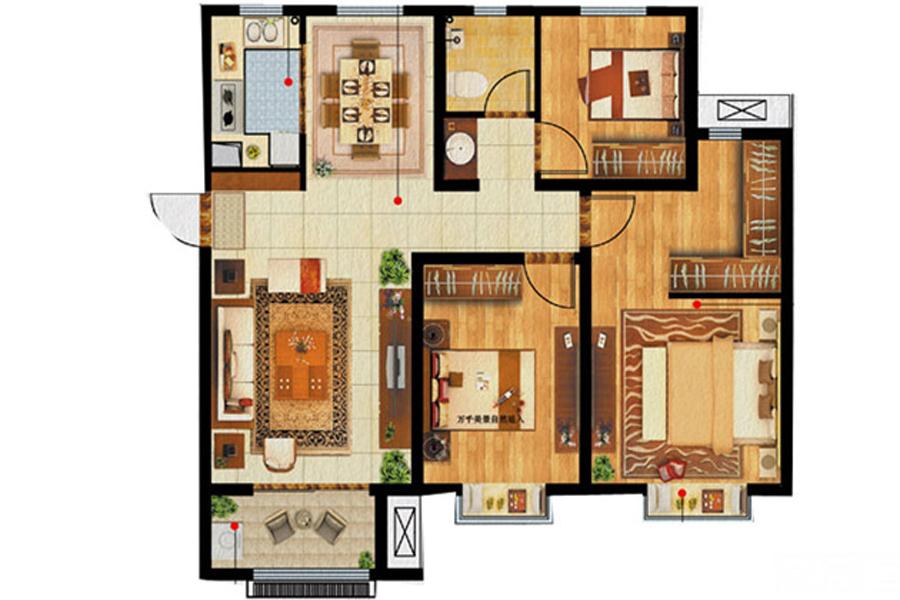 A2户型, 3室2厅1卫, 约115.00平米