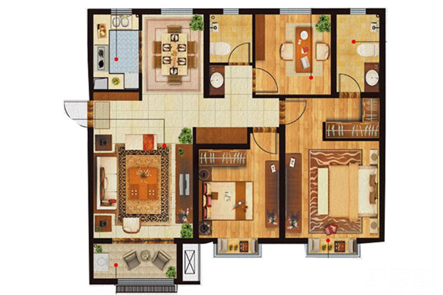 A3户型, 3室2厅2卫, 约125.00平米
