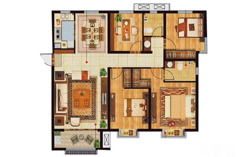 A4户型, 4室2厅2卫, 约150.00平米