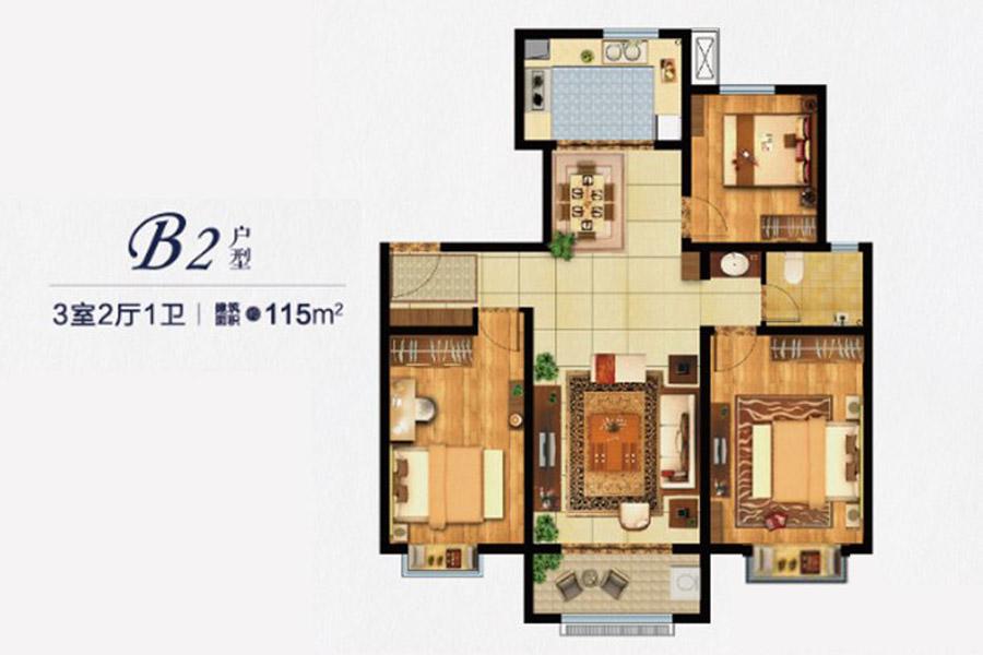 B2户型115平米3室2厅1卫1厨