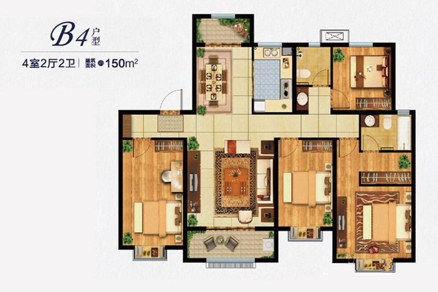 B4户型150平米4室2厅2卫1厨