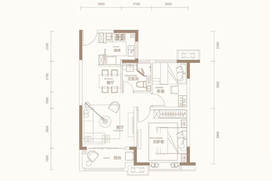 A户型80平米2室