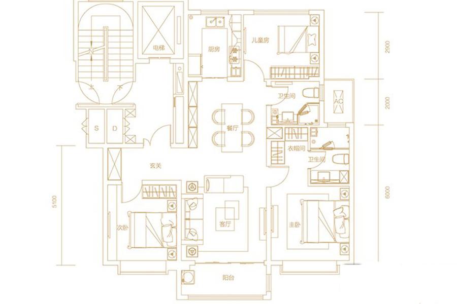 B12、B13地块F户型127平米3室2厅2卫