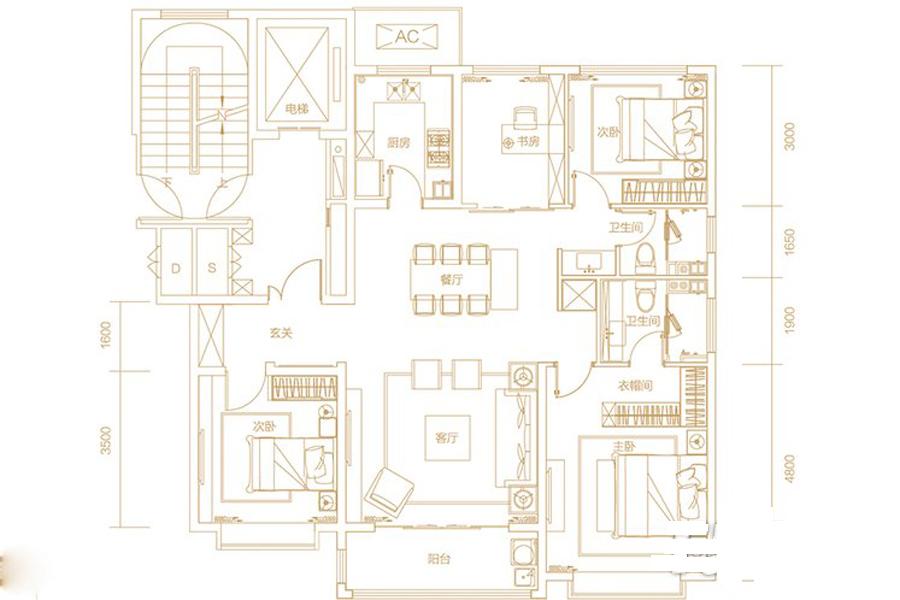 B12、B13地块G户型146平米4室2厅2卫