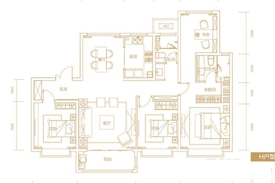 B12、B13地块H户型152-155平4室2厅2卫