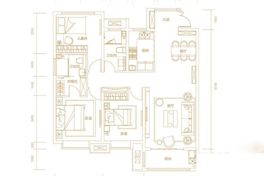 B13地块D户型133平米3室2厅2卫1厨