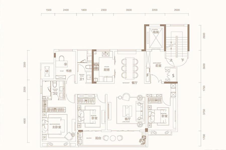 E户型160平米4室