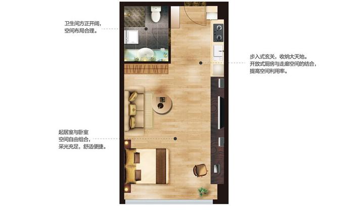 公寓C户型35平米1室