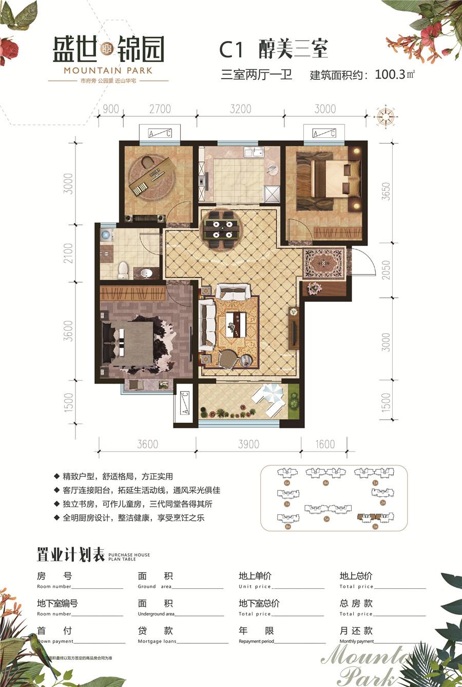 三室两厅一卫100平米C1户型