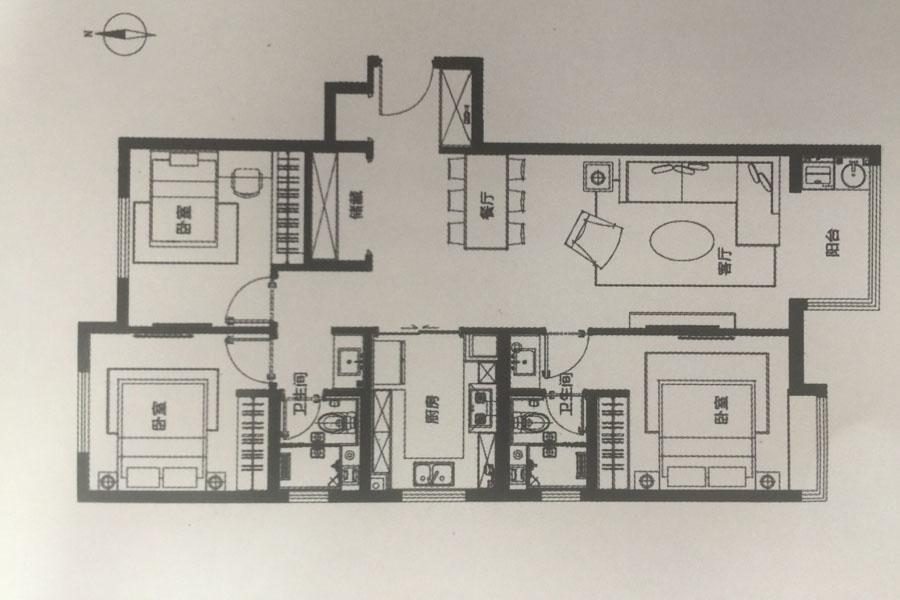 105平米三室A户型