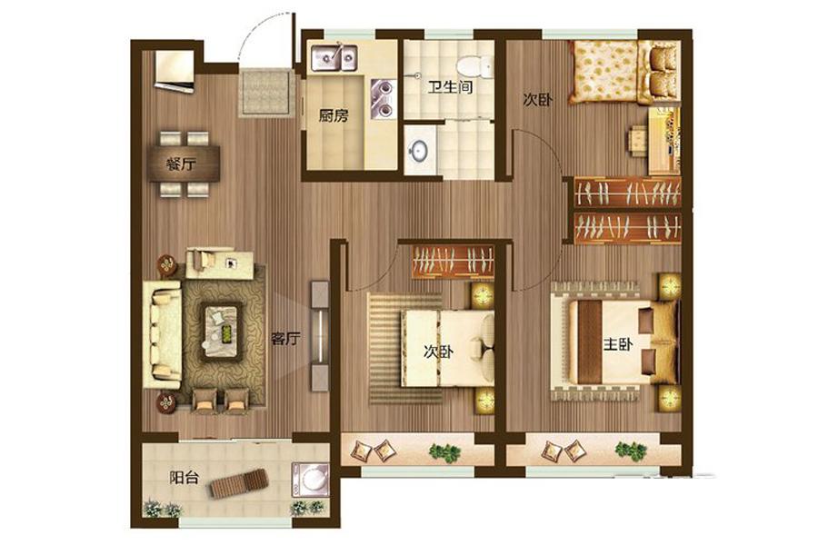 A户型100平米3室2厅1卫1厨