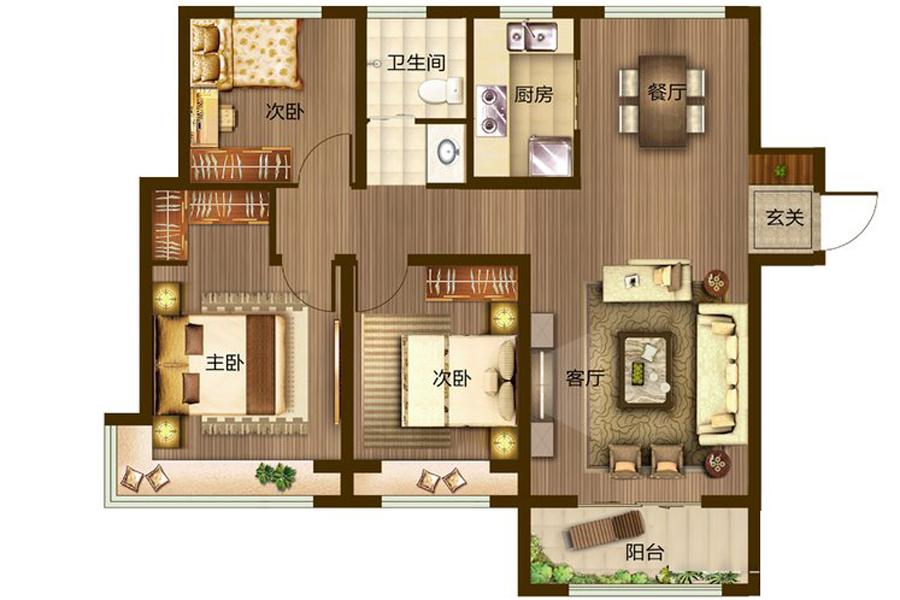 B户型116平米3室2厅1卫1厨