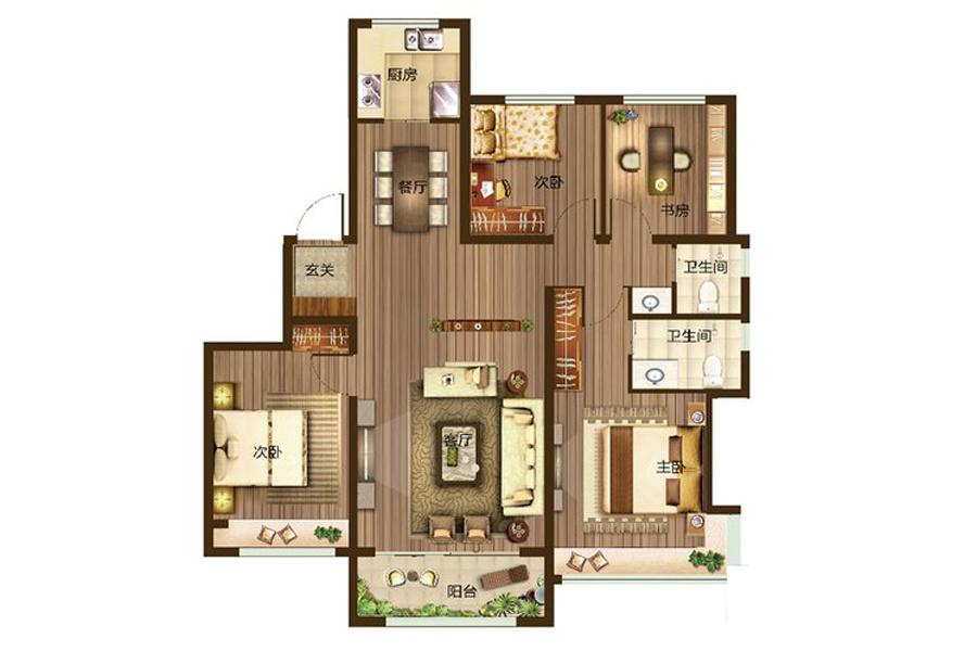 E1户型142平米4室2厅2卫1厨