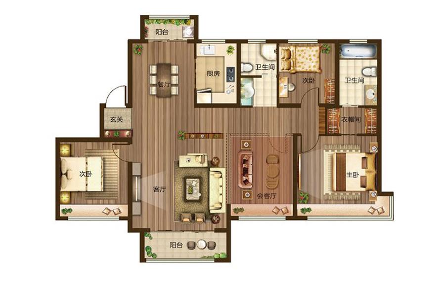 F户型169平米3室3厅2卫1厨