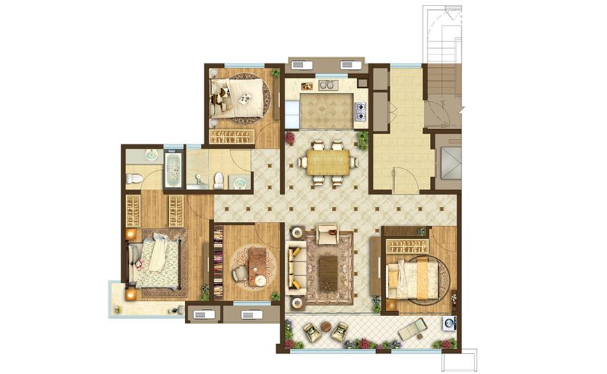 139平米三室两厅两卫
