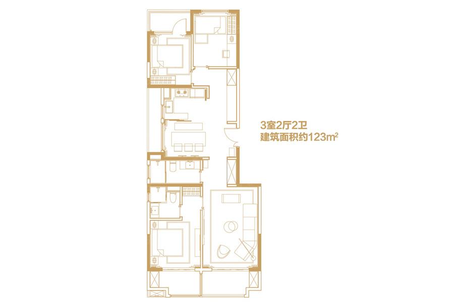 123平米3室2厅2卫