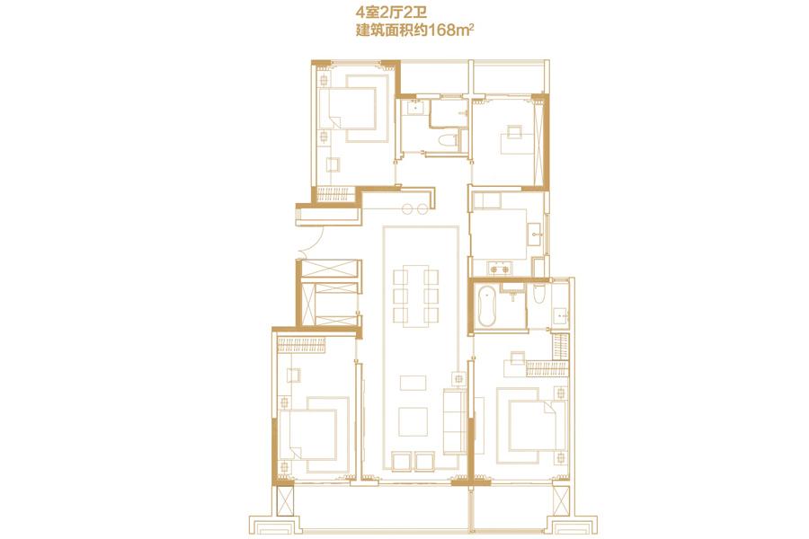 168平米4室2厅2卫