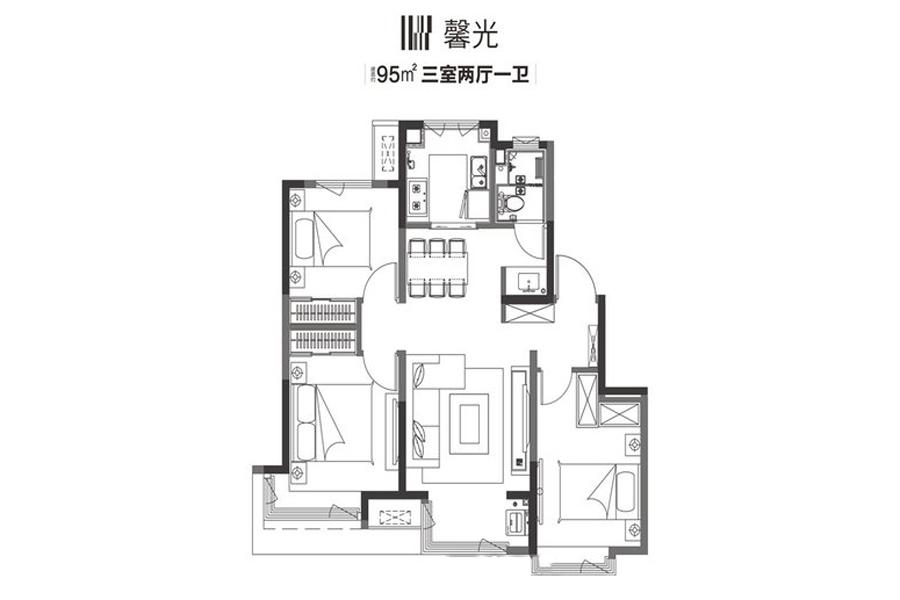 95平方米馨光户型3室2厅2卫1厨