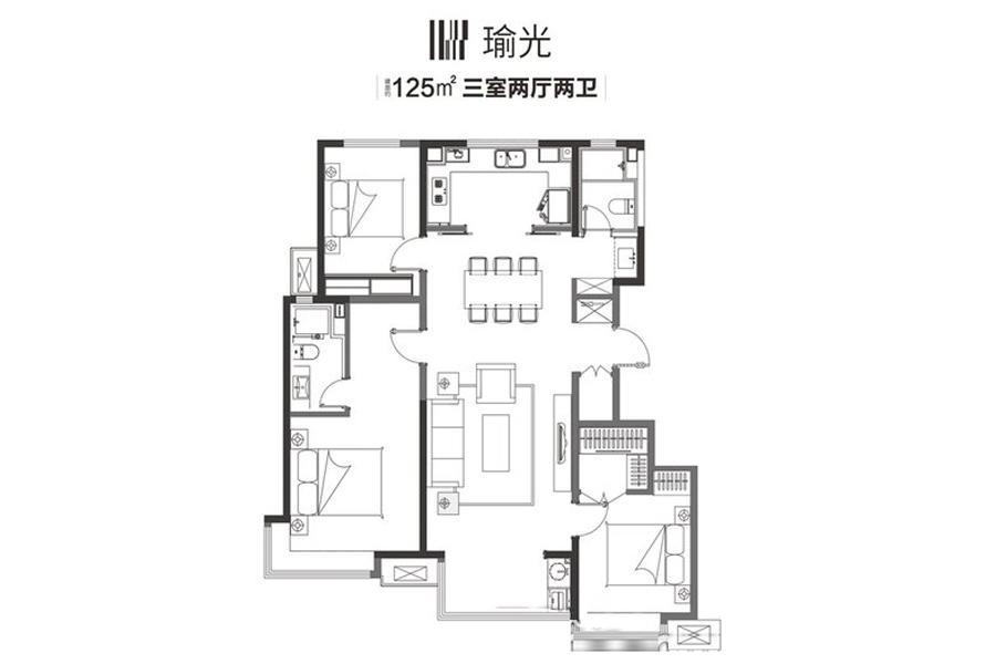 125平方米瑜光户型3室2厅2卫1厨