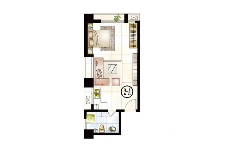 公寓2号楼A户型51.75平米1室1厅1卫1厨