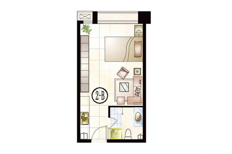 公寓2号楼B户型43.96平米1室1厅1厨1卫