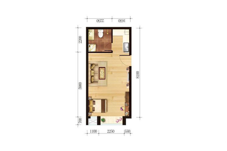 公寓2号楼户型五58.42平米一室一厅一厨一卫