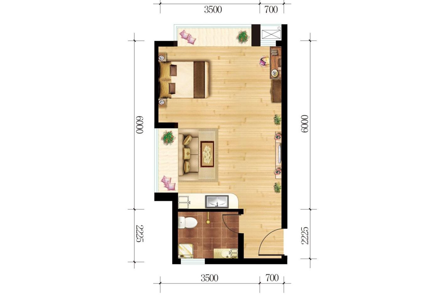 公寓46.98平米1室