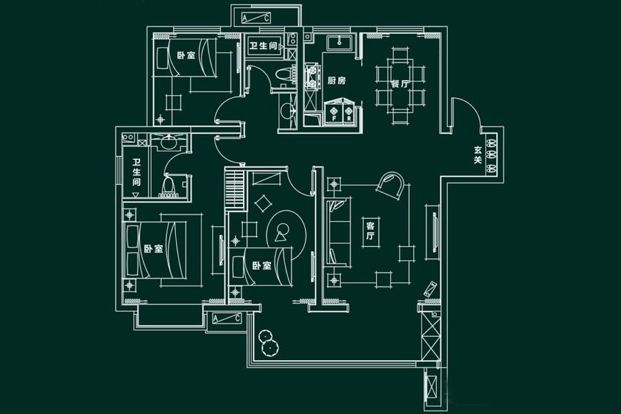 F1户型, 3室2厅2卫1厨, 建筑面积约136.00平米