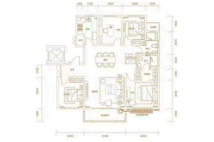 150㎡户型, 4室2厅2卫1厨