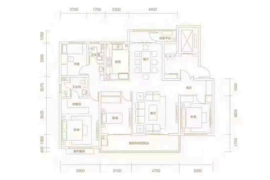 165m²户型, 4室2厅2卫1厨