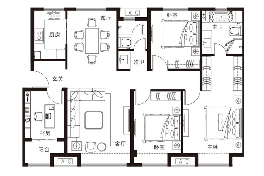 130㎡户型, 4室2厅2卫1厨