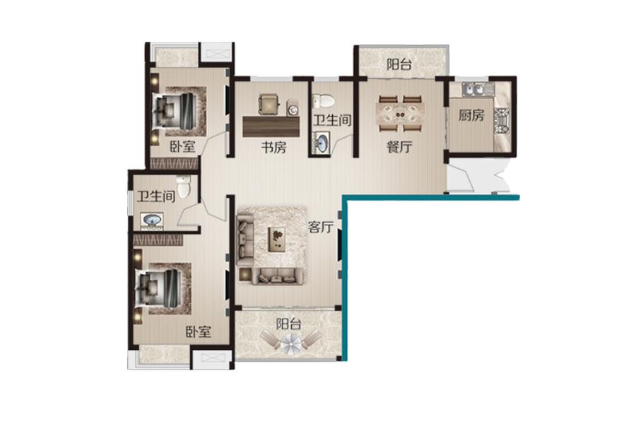 10号楼120.67㎡三室两厅两卫
