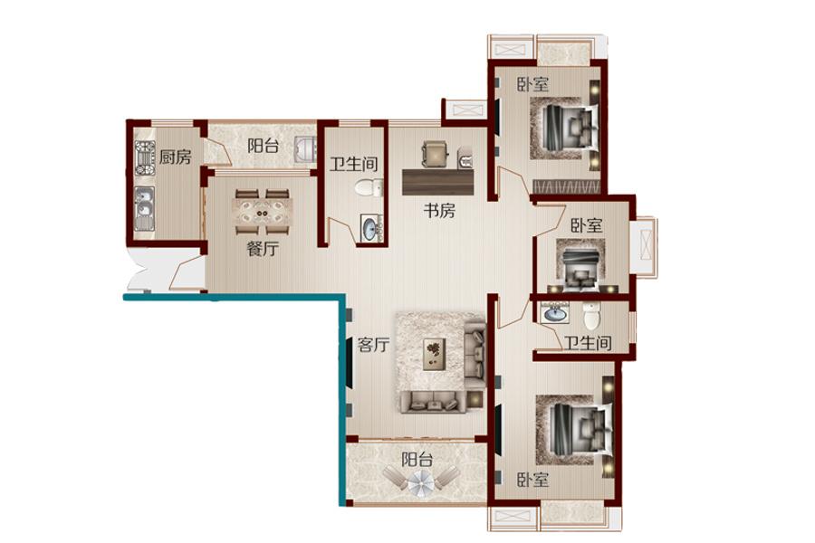 10号楼141.31㎡四室两厅两卫